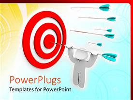PowerPlugs: PowerPoint template with a number of darts with one of them hitting the target