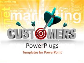 PowerPlugs: PowerPoint template with a number of darts on the word customers