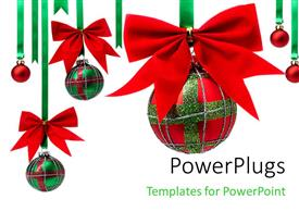 PowerPlugs: PowerPoint template with a number of decoration balls hanging with white background