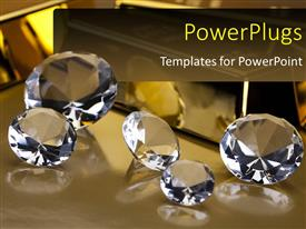 PowerPlugs: PowerPoint template with a number of diamonds with their reflection