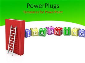PowerPoint template displaying a number of dices with a greenish background and a ladder in front