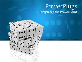 PowerPlugs: PowerPoint template with a number of dices together with bluish background
