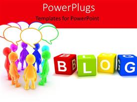 PowerPlugs: PowerPoint template with a number of dices with the word blog
