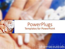 PowerPoint template displaying a number of different medicines being placed in a palm