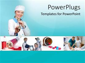PowerPoint template displaying a number of doctors in the picture treating patients