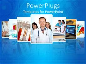 PowerPlugs: PowerPoint template with a number of doctors together with bluish background