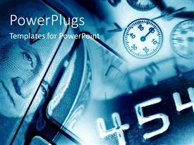 PowerPlugs: PowerPoint template with a number of dollar note description with clocks in background
