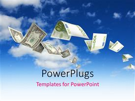 PowerPlugs: PowerPoint template with a number of dollar notes in the air with sky