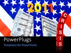 PowerPoint template displaying a number of dollar notes with an Ameircan flag in background
