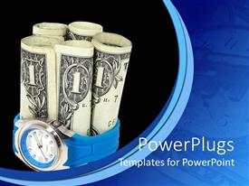 PowerPlugs: PowerPoint template with a number of dollar notes with blackish background