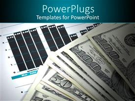 PowerPoint template displaying a number of dollar notes with financial report in the background