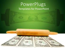 PowerPlugs: PowerPoint template with a number of dollar notes with the reflection in the background