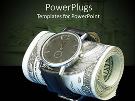 PowerPoint template displaying a number of dollar notes together being wrapped with the help of a watch