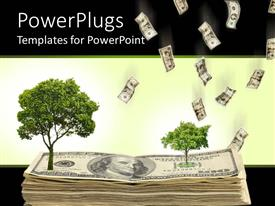 PowerPlugs: PowerPoint template with a number of dollar notes with trees on them