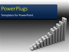 PowerPoint template displaying a number of dollar signs in grayish color with grayish background