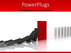 PowerPlugs: PowerPoint template with a number of dominos trying to hit the other half
