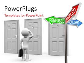 PowerPlugs: PowerPoint template with a number of doors with a numbe rof signs