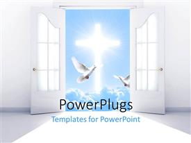 PowerPlugs: PowerPoint template with a number of doves and a holy cross
