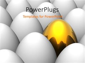 PowerPlugs: PowerPoint template with a number of eggs with a golden one