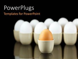 PowerPlugs: PowerPoint template with a number of eggs in white color with one in brown