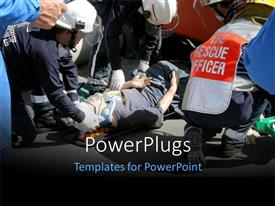 PowerPlugs: PowerPoint template with a number of emergency workers helping the people