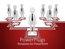 PowerPoint template displaying a number of employees standing together but on different levels