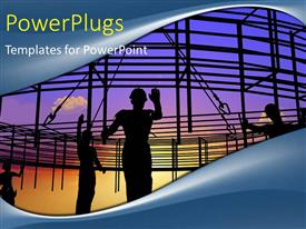 PowerPlugs: PowerPoint template with a number of engineers with a frame in the background