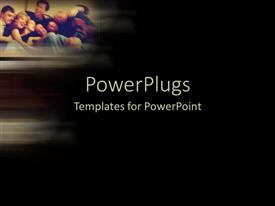 PowerPlugs: PowerPoint template with a number of family members with blackish background