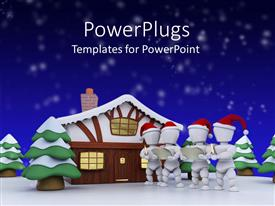 PowerPoint template displaying a number of figures along with a home in winters