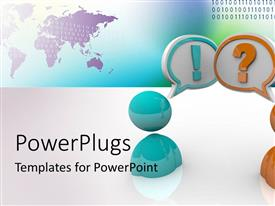 PowerPlugs: PowerPoint template with a number of figures asking questions while there are binary numbers in the background