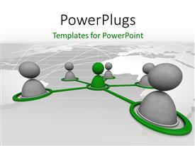 PowerPlugs: PowerPoint template with a number of figures connected to a central one with map in the background