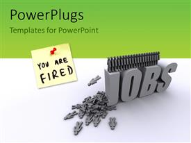 PowerPlugs: PowerPoint template with a number of figures creating the words jobs and greenish background