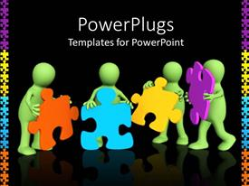 PowerPlugs: PowerPoint template with a number of figures holding the puzzle pieces