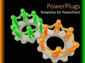 PowerPlugs: PowerPoint template with a number of figures standing on gears