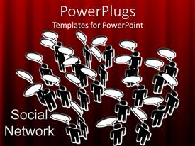 PowerPoint template displaying a number of figures thinking with a reddish background