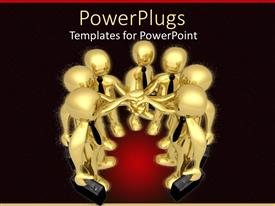PowerPoint template displaying a number of figures together doing a business meeting