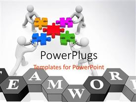 PowerPlugs: PowerPoint template with a number of figures trying to join puzzle pieces showing teamwork