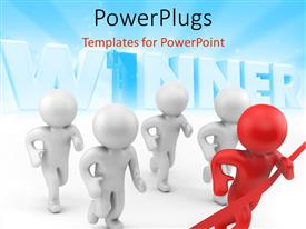 PowerPlugs: PowerPoint template with a number of figures with the word winner in background