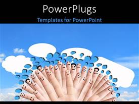 PowerPlugs: PowerPoint template with a number of fingers with smileys