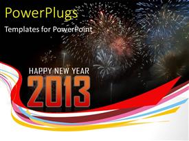 PowerPoint template displaying a number of fireworks with the digit 2013