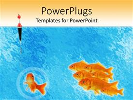 PowerPoint template displaying a number of fish in the water