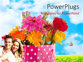PowerPlugs: PowerPoint template with a number of flowers in the bag with sky in the background