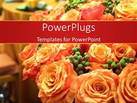 PowerPoint template displaying a number of flowers in bouquet form with tables in the background