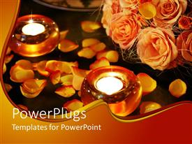 PowerPoint template displaying a number of flowers with burning candles in front