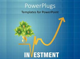 PowerPlugs: PowerPoint template with a number of flowers with dollar sign and bluish background