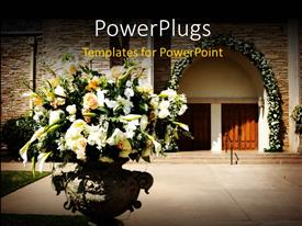 PowerPlugs: PowerPoint template with a number of flowers with a house in the background