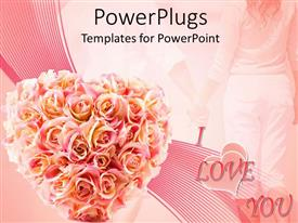 PowerPlugs: PowerPoint template with a number of flowers with I love you in the background