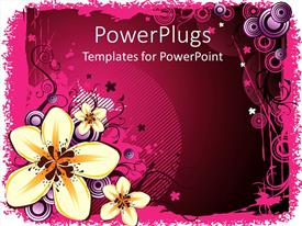 PowerPlugs: PowerPoint template with a number of flowers with a pinkish background and signs