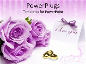 PowerPlugs: PowerPoint template with a number of flowers with purple background and place for text