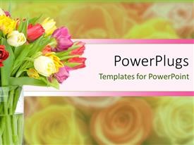 PowerPoint template displaying a number of flowers with their shadow in the background